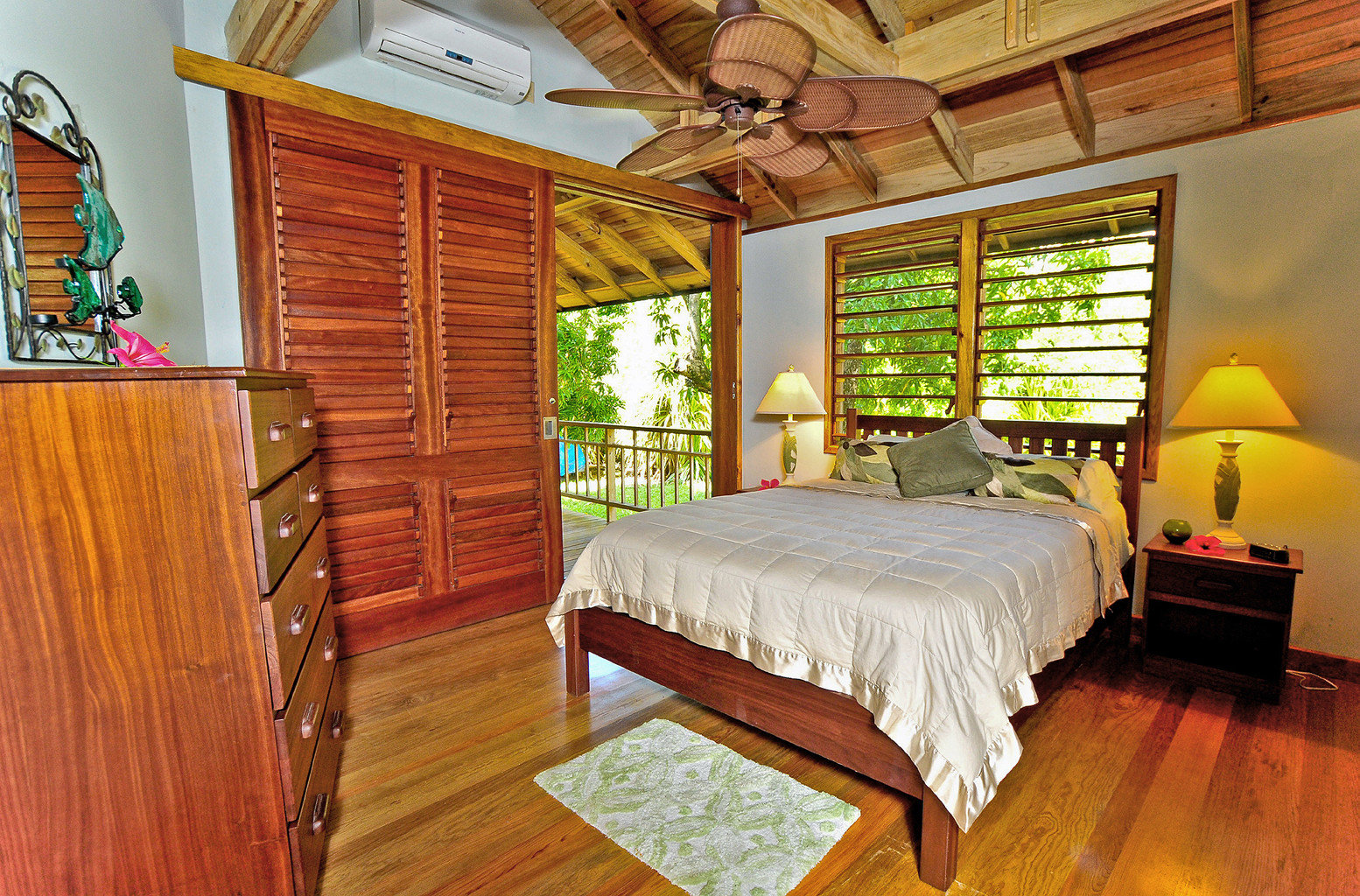Balcony Bedroom Classic Eco Island Jungle Villa property cottage home hardwood wooden Suite farmhouse