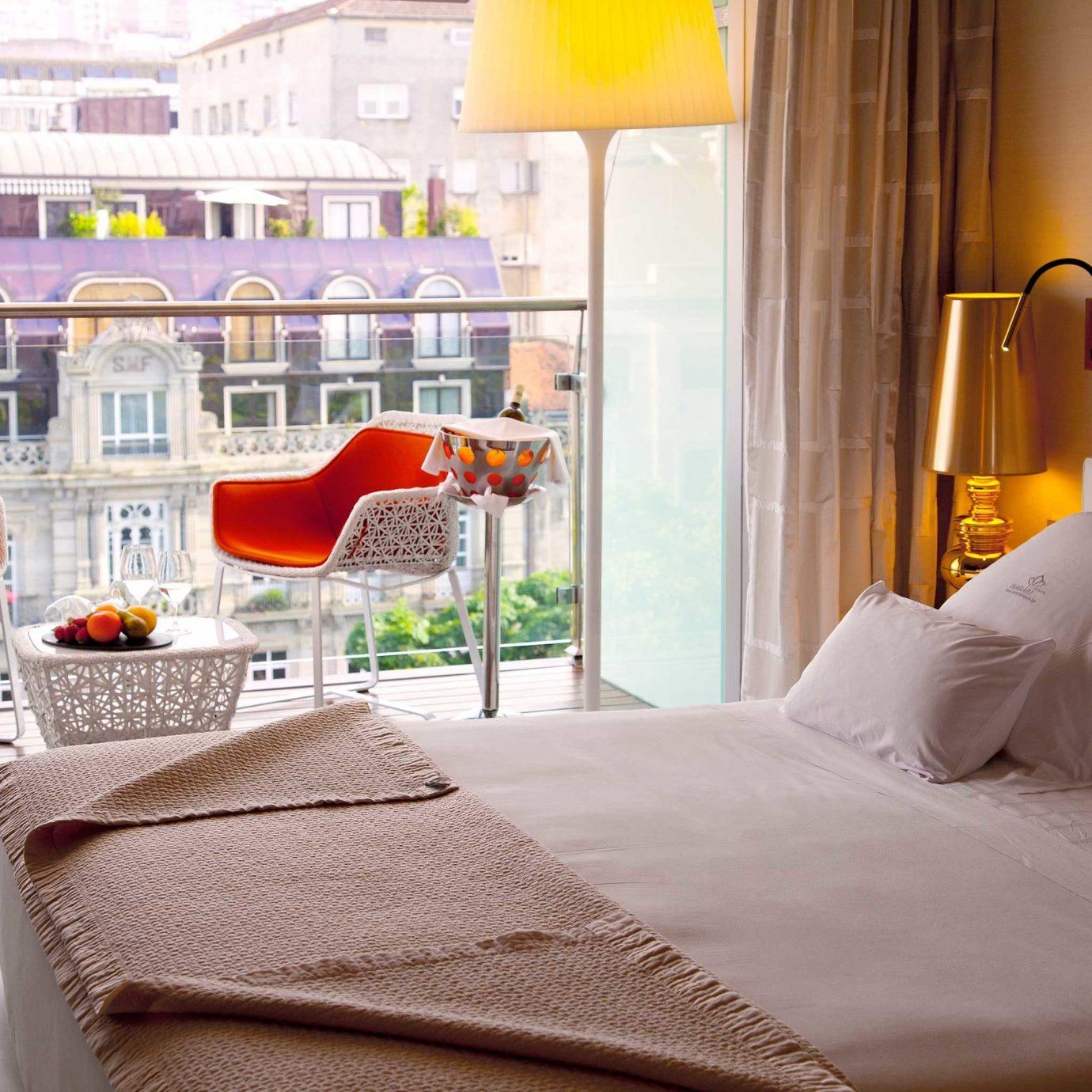 Balcony Bedroom Elegant Hip Luxury Modern Scenic views Suite property yellow orange