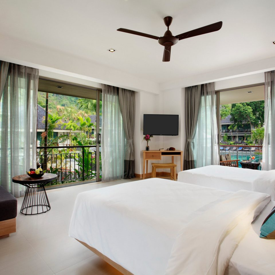 Balcony Bedroom Jungle Pool Scenic views Tropical sofa property living room home Villa cottage Suite condominium pillow farmhouse Resort