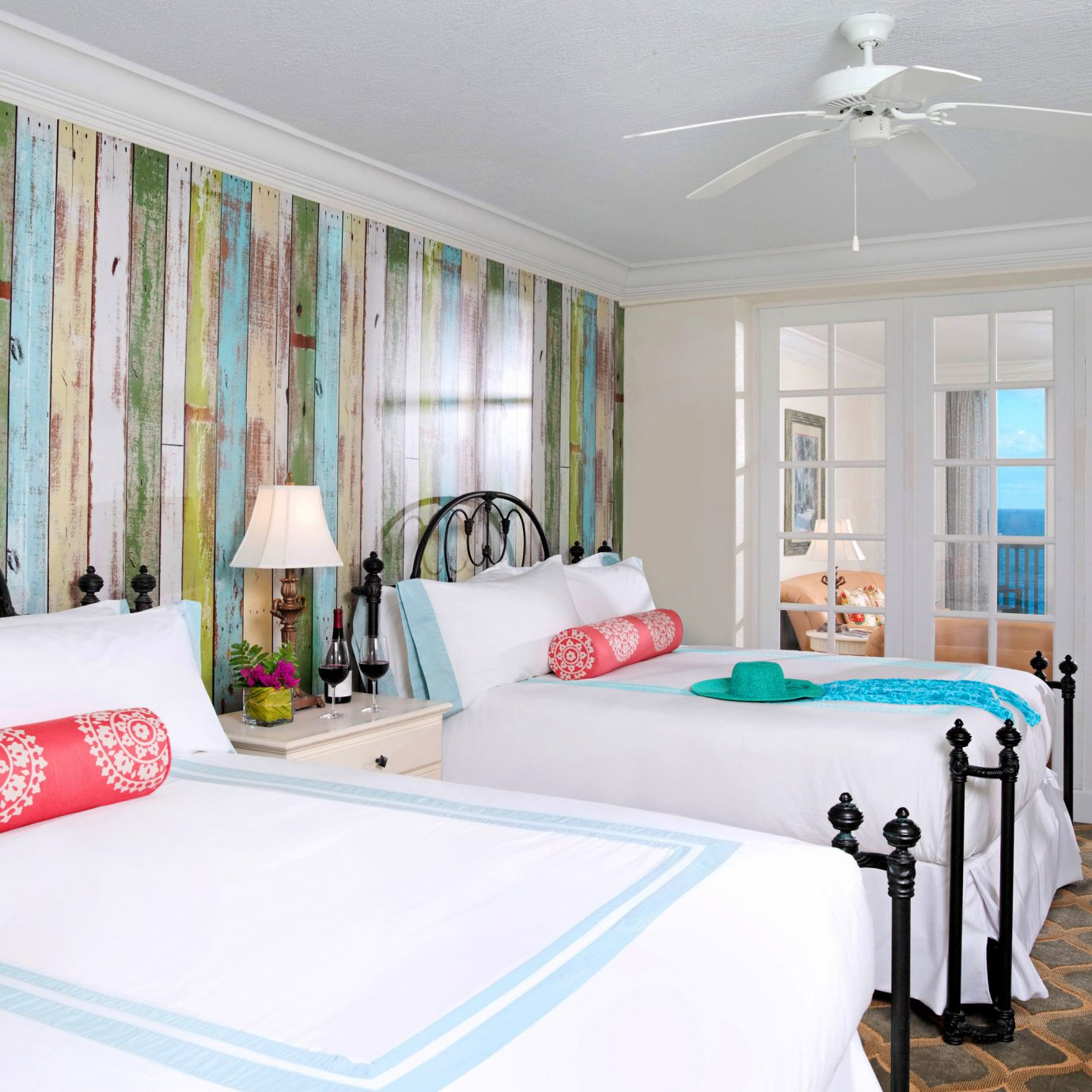 Balcony Bedroom Modern Resort Scenic views Suite Waterfront property home white living room bed sheet cottage