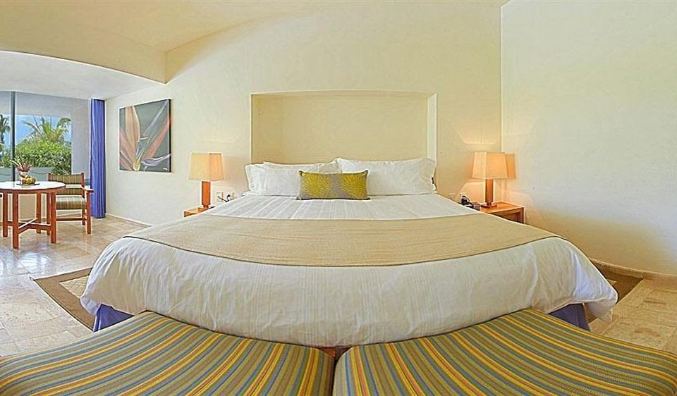Balcony Bedroom Modern Resort Waterfront property Suite cottage Villa bed frame tan