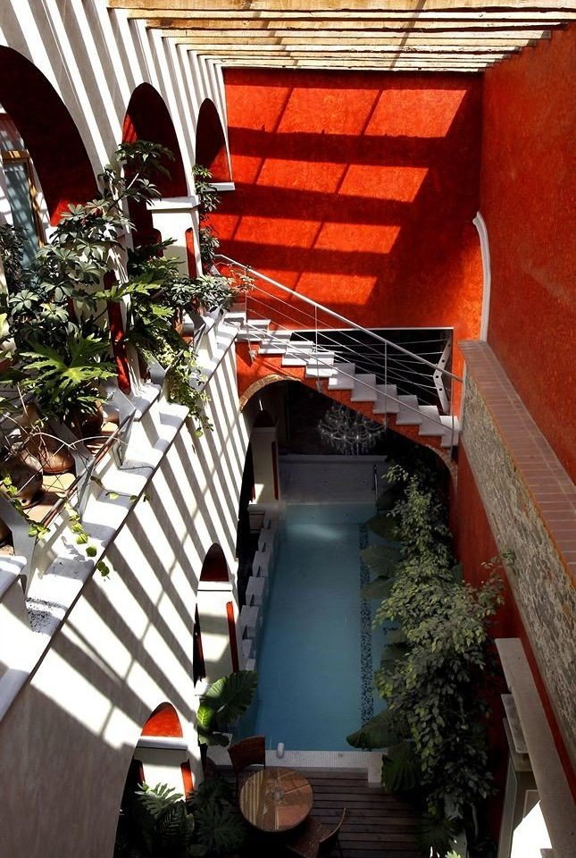 red house building home Balcony step restaurant