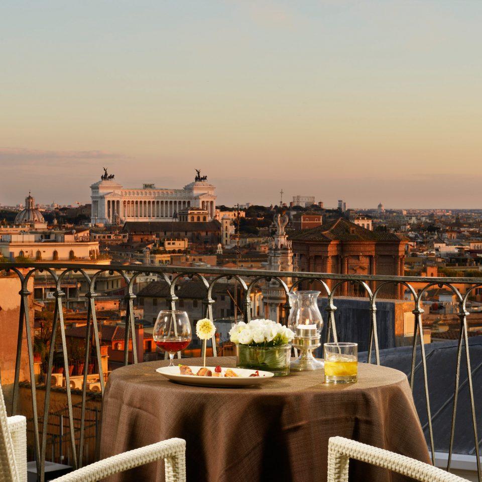 Balcony City Historic sky chair evening restaurant overlooking set