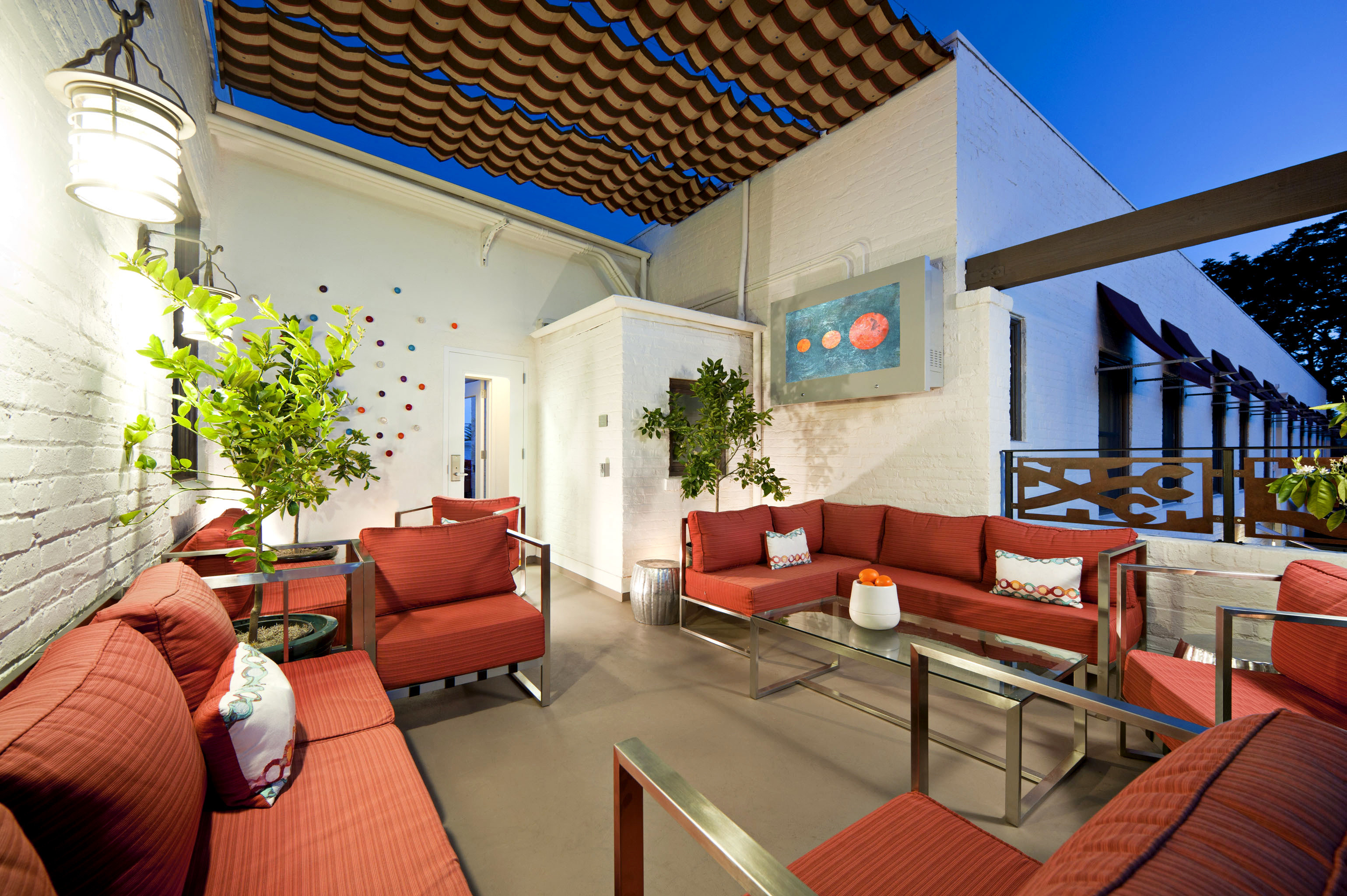 Balcony Courtyard Eco Hip Lounge Modern property house home Villa Resort condominium living room cottage Suite
