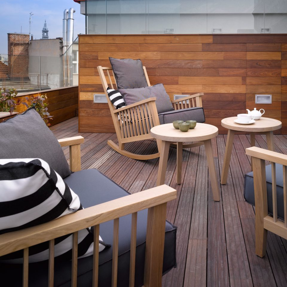 Balcony Deck Hip Resort Rooftop chair wooden property home house cottage outdoor structure backyard