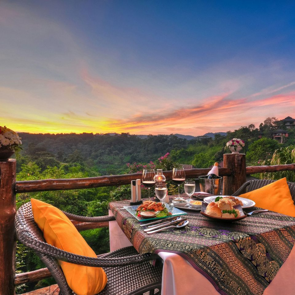 Balcony Dining Drink Eat Honeymoon Jungle Outdoors Romance Sunset Terrace Tropical sky morning evening landscape autumn Sea set