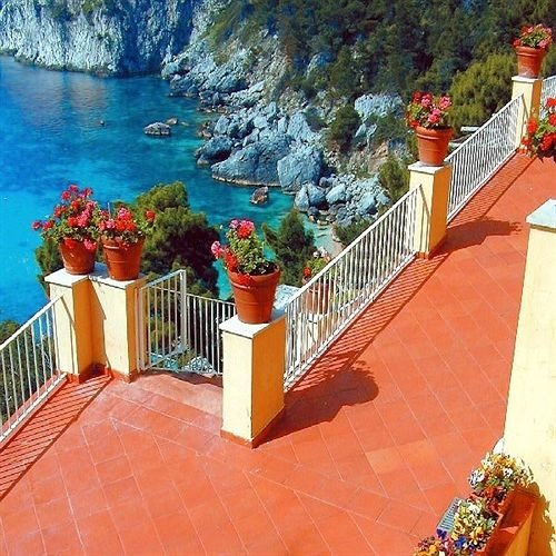 building walkway swimming pool Resort backyard Villa colorful Balcony