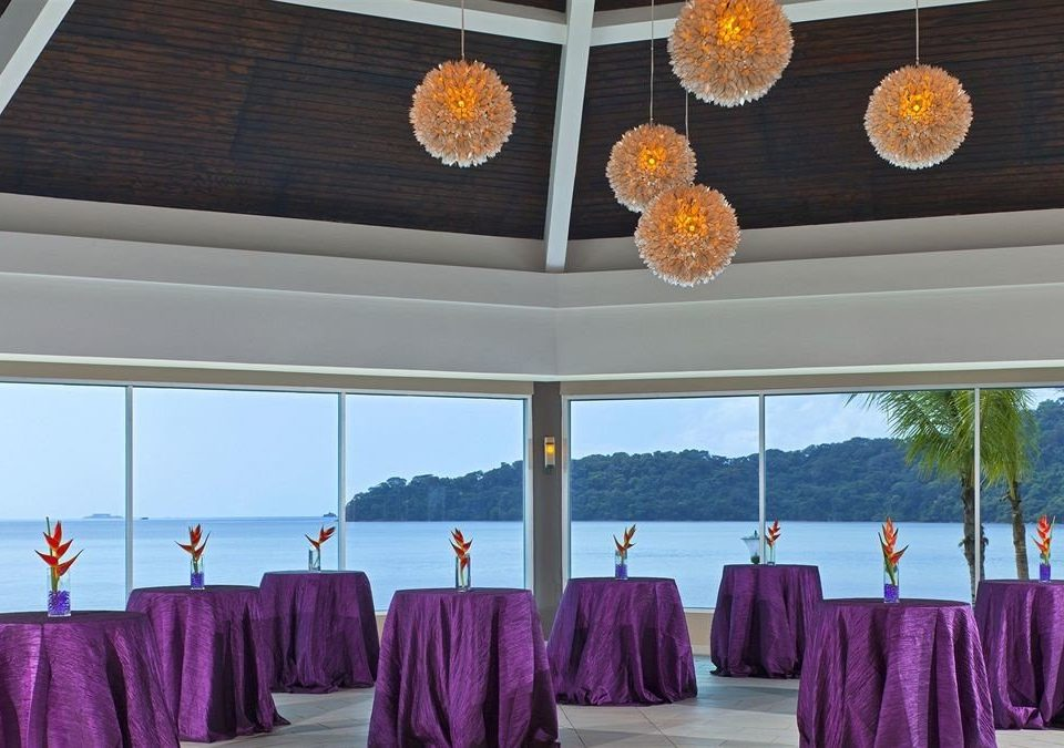 function hall banquet ceremony textile window treatment ballroom purple colored