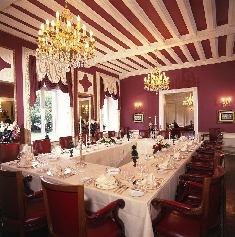 function hall restaurant red long ballroom banquet wedding reception fancy