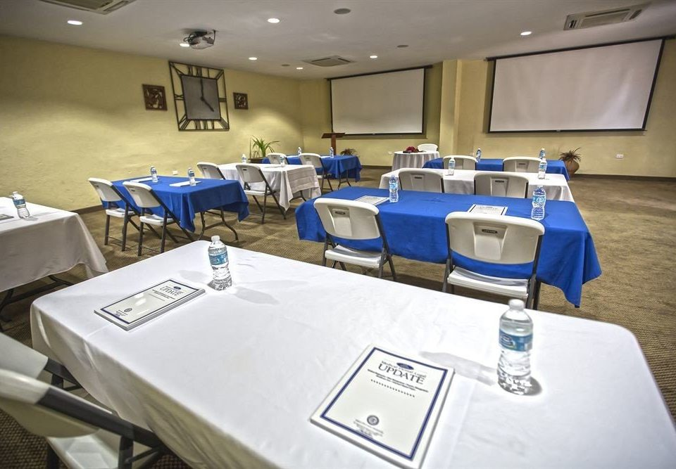conference hall function hall meeting blue banquet