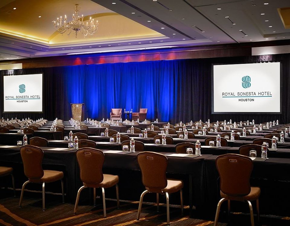 auditorium function hall conference hall academic conference convention meeting convention center ballroom Bar set