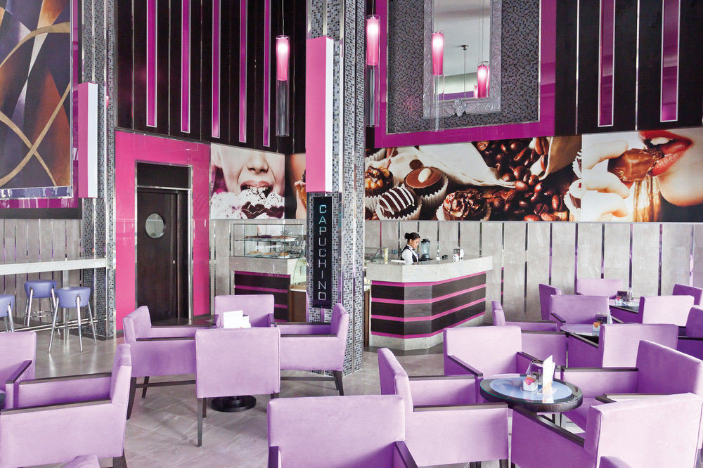purple chair restaurant pink Bar function hall colorful colored arranged dining table