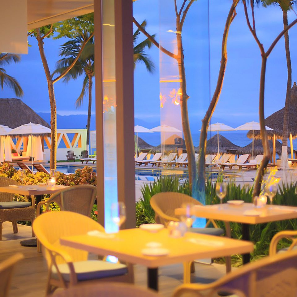Bar Beachfront Dining Drink Eat Patio Scenic views chair tree umbrella leisure Resort restaurant lawn Beach caribbean set dining table