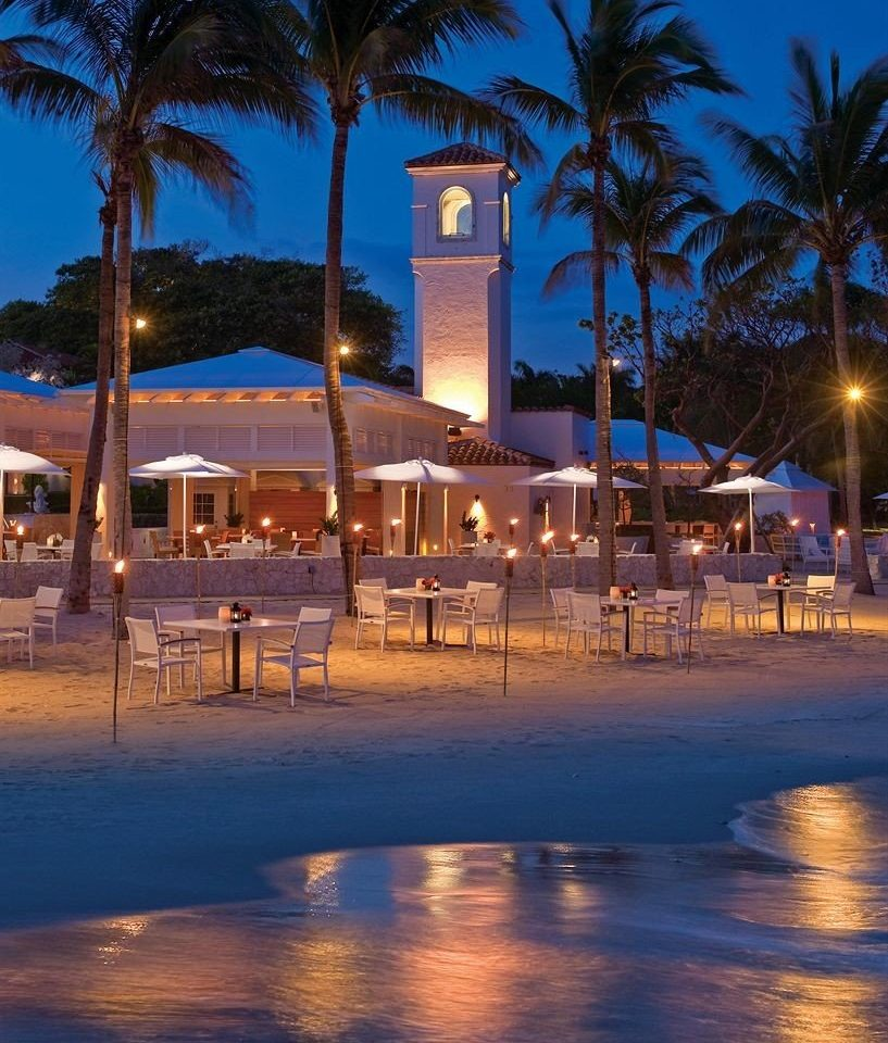 Bar Dining Drink Eat Luxury tree sky Beach night Resort evening marina arecales Ocean dock dusk walkway Sea swimming pool Sunset shore palm lined