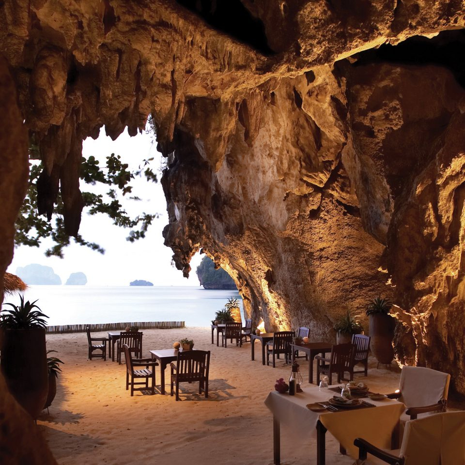 Bar Dining Drink Eat Elegant Food + Drink Luxury Modern Nature water cave Beach rock formation