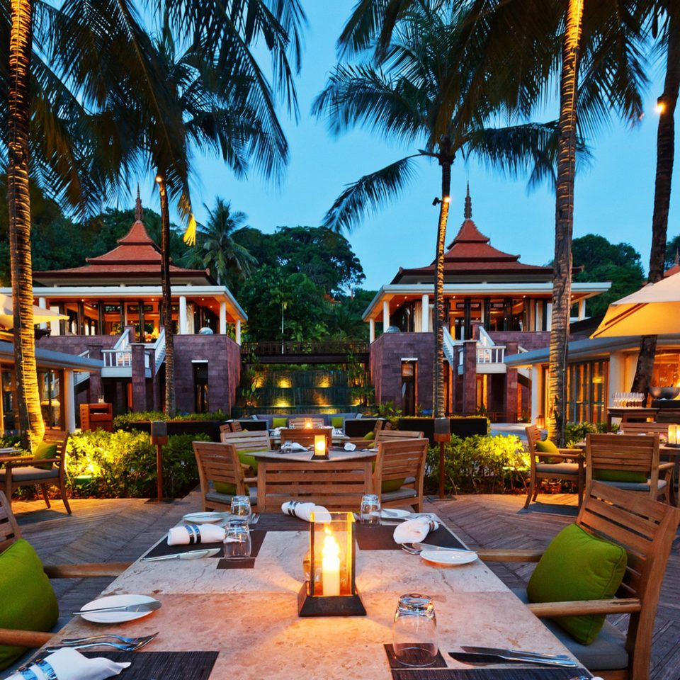 Bar Beach Dining Drink Eat Hotels Phuket Thailand Tropical tree leisure Resort home restaurant Village set lined