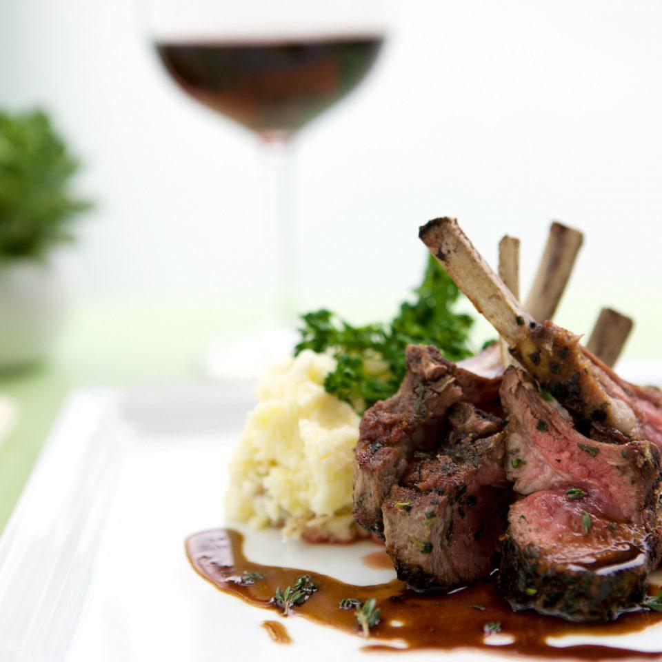 Bar Beach Dining Drink Eat Modern plate food meat cuisine white restaurant fork sense dinner piece de resistance
