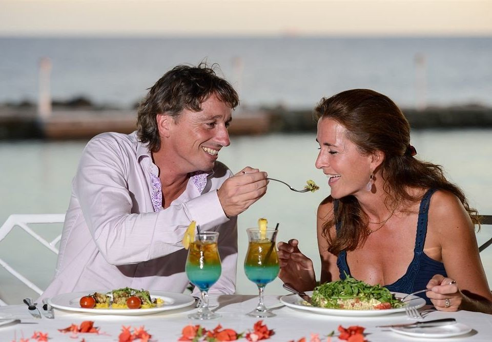 Bar Beachfront Dining Drink Eat Romantic woman eating drinking ceremony wedding event rehearsal dinner enjoying