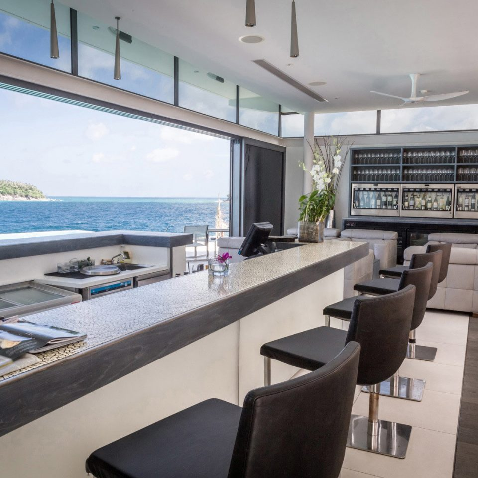 Bar Beachfront Drink Hip Luxury Modern Scenic views property condominium home living room Villa vehicle mansion