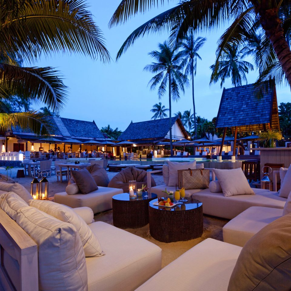 Bar Beachfront Eat Lounge Outdoors Romance Tropical Waterfront tree Resort restaurant caribbean swimming pool palm lined