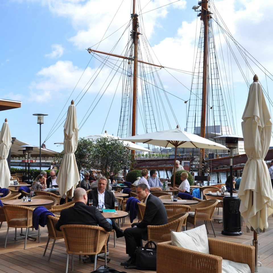 Bar Dining Drink Eat Lounge Waterfront sky vehicle Boat ship watercraft sailing ship mast marina dock day