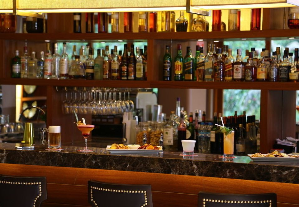 bottle wine shelf glasses Bar counter restaurant store