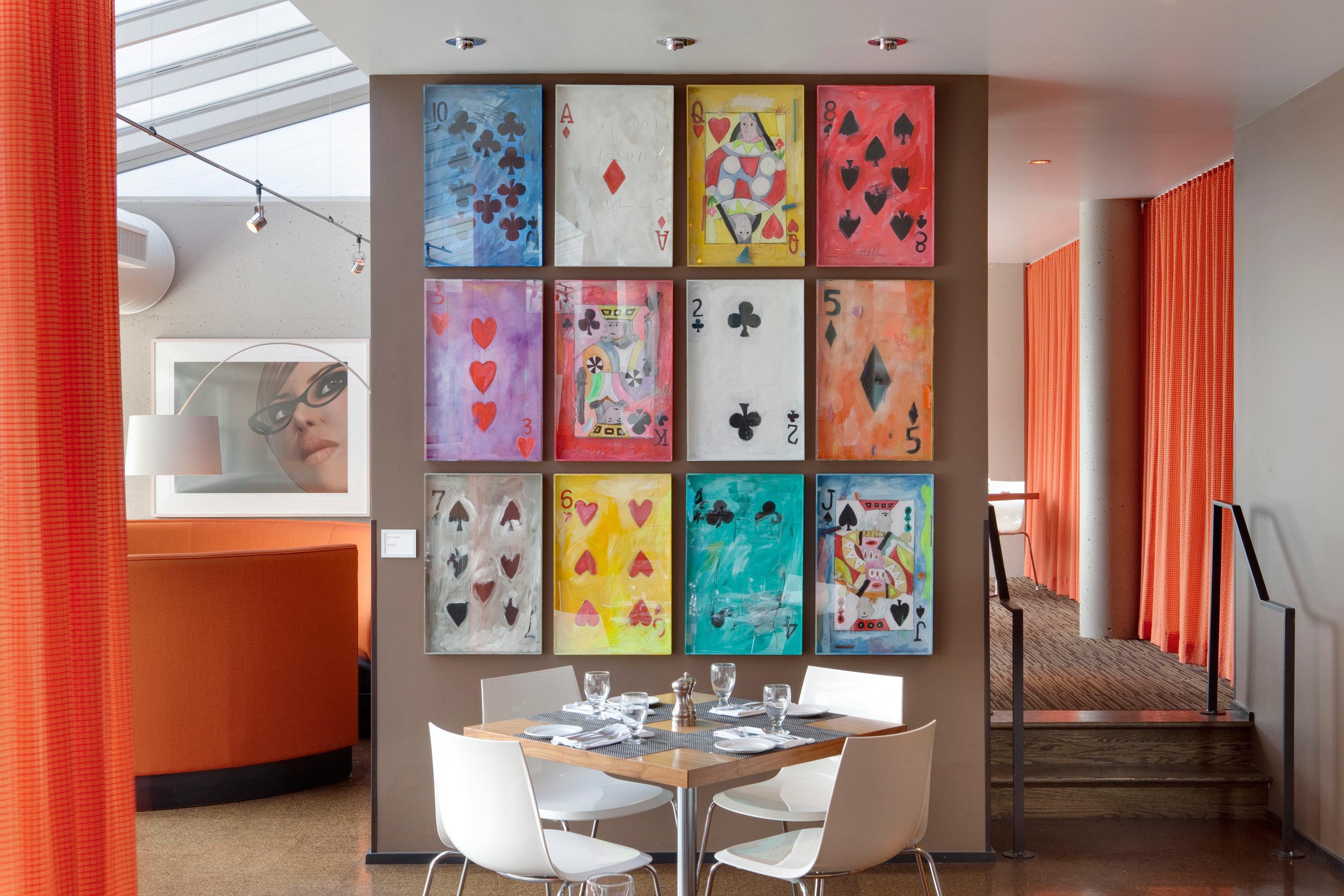 Bar Boutique Budget City Dining Drink Eat Hip Lounge Modern living room red art home office orange