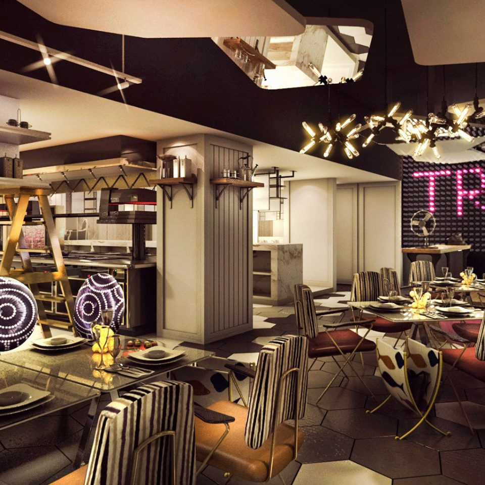 Business City Luxury Modern Boutique restaurant home Bar cluttered