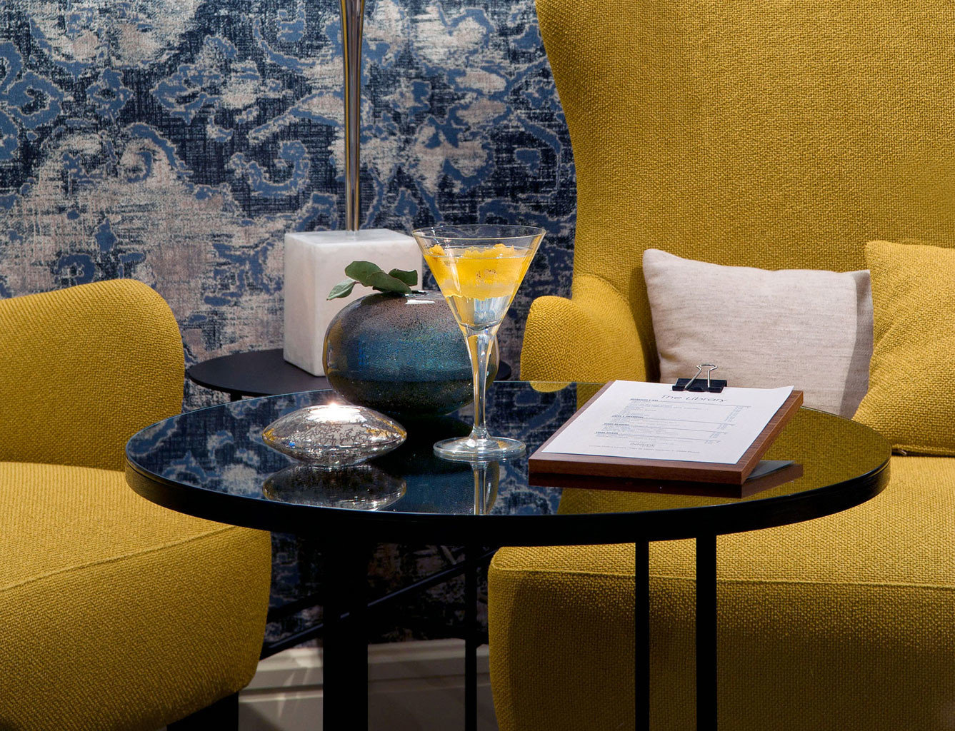 Bar Boutique City Drink Hip Lounge Modern color yellow living room home wallpaper seat set