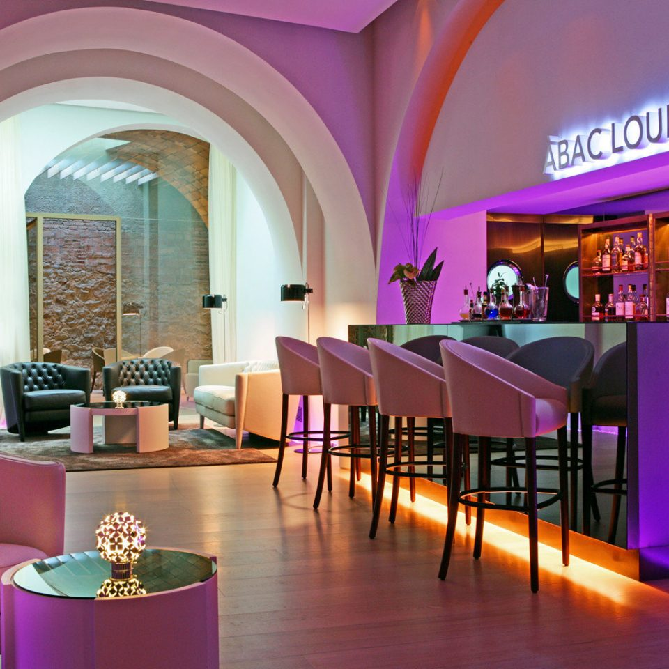 Bar Boutique Hotels Dining Drink Eat Hotels Lounge Modern color Lobby restaurant pink function hall Resort purple