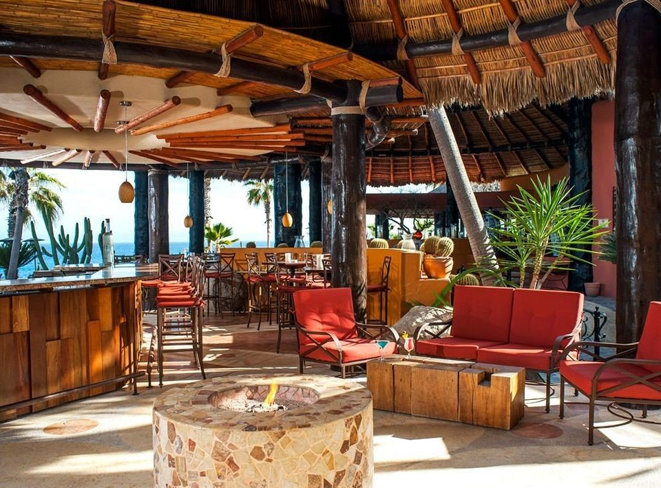 Bar Budget Dining Drink Eat Resort Tropical Waterfront chair property restaurant wooden hacienda eco hotel cottage Villa