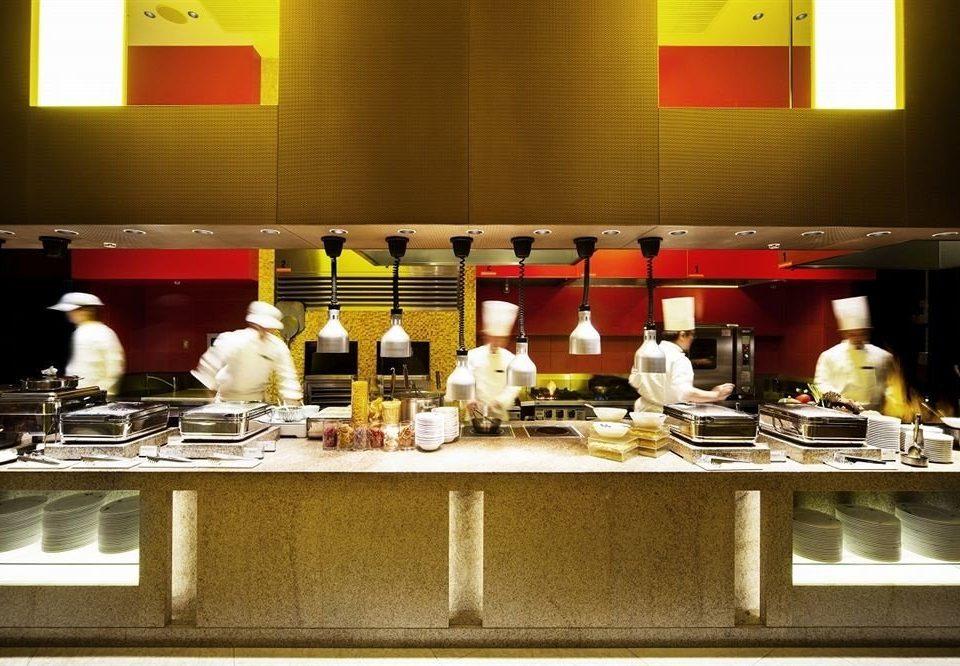 counter restaurant food buffet cuisine Bar cluttered