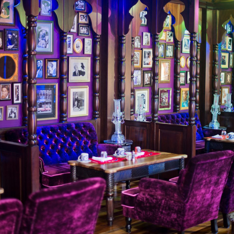 purple building restaurant Bar function hall colorful colored