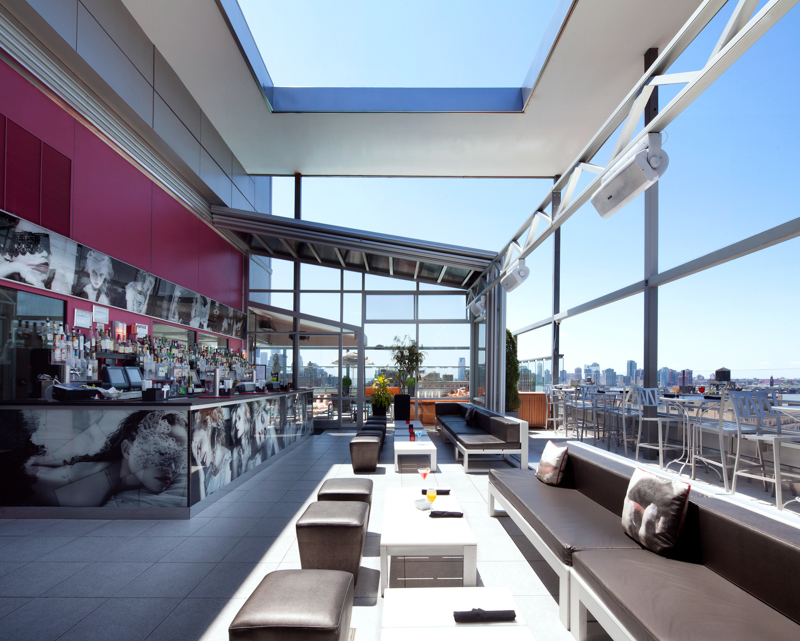 Bar Buildings City Dining Drink Eat Lounge Modern Rooftop Scenic views structure sport venue infrastructure headquarters public transport