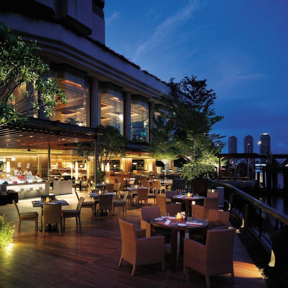 Bar Business City Deck Dining Drink Eat Elegant Luxury Patio Terrace Waterfront restaurant night Resort evening