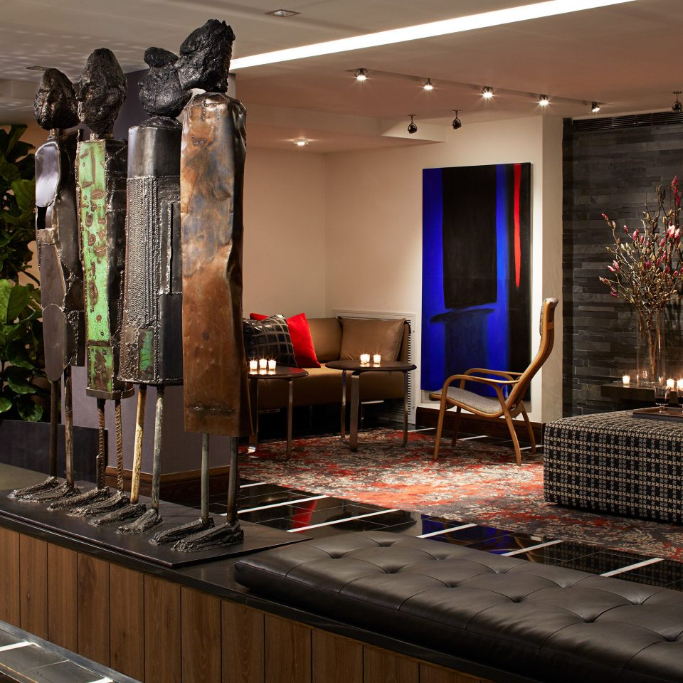 Business City Fireplace Lobby Lounge Modern property home living room recreation room Bar