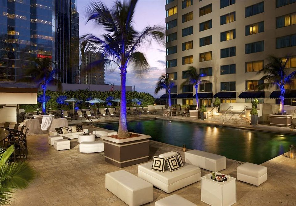 City Deck Patio Pool Sunset condominium plaza restaurant Resort Bar