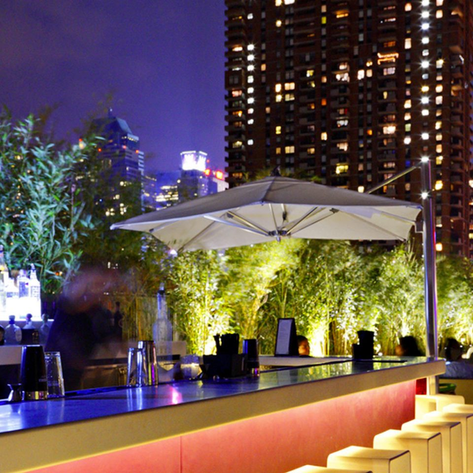 Bar City Dining Drink Eat Hip Luxury Modern night plaza Downtown lighting evening convention center flower