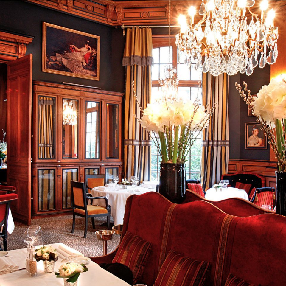 City Dining Drink Eat Elegant France Historic Hotels Lounge Paris Romantic sofa chair restaurant red home function hall Bar nice living room mansion palace leather