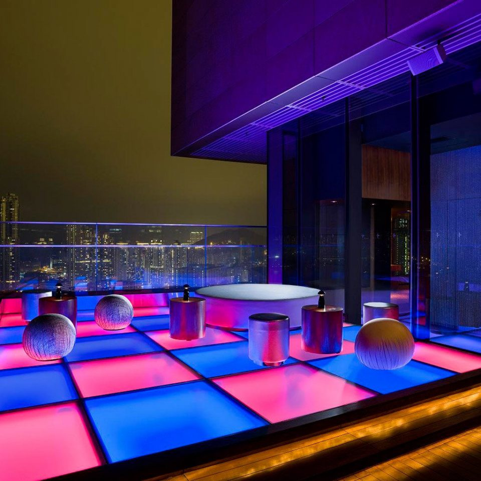 Bar City Drink Family Lounge Modern Nightlife Rooftop Scenic views swimming pool stage auditorium sport venue nightclub lighting theatre music venue convention center scenographer bright colored