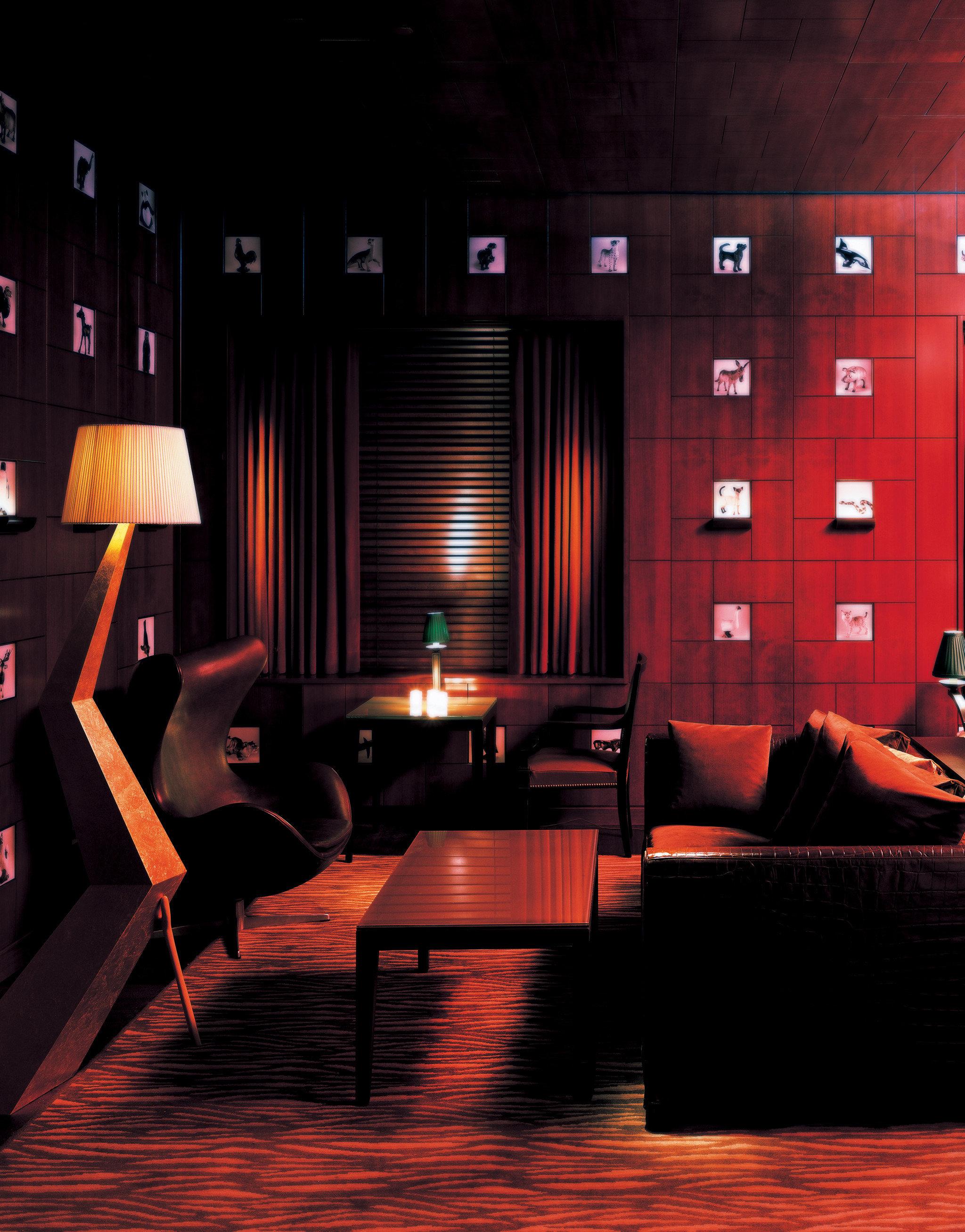 City Drink Hip Historic Lounge red stage Bar shape auditorium nightclub movie theater theatre