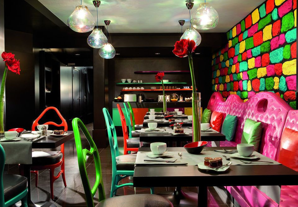 color restaurant Bar lamp cluttered dining table