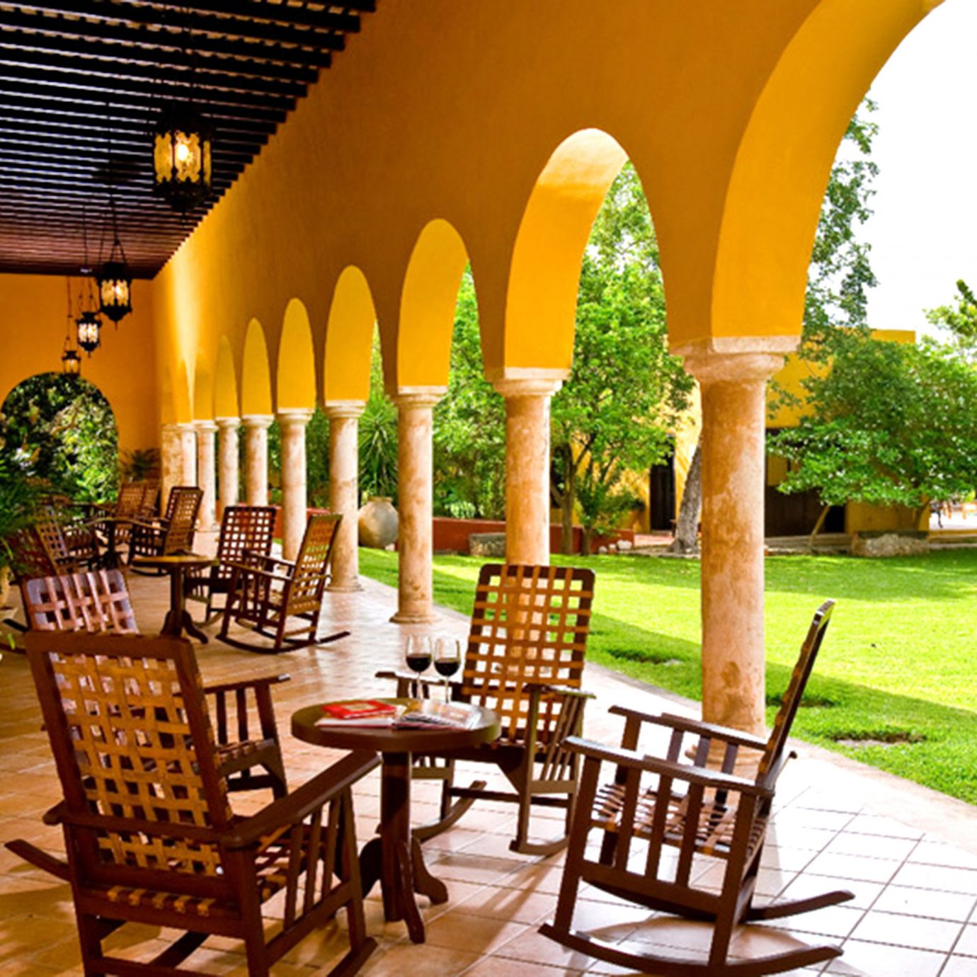 Bar Dining Drink Eat Luxury Rustic hacienda Resort restaurant Villa palace Courtyard outdoor structure