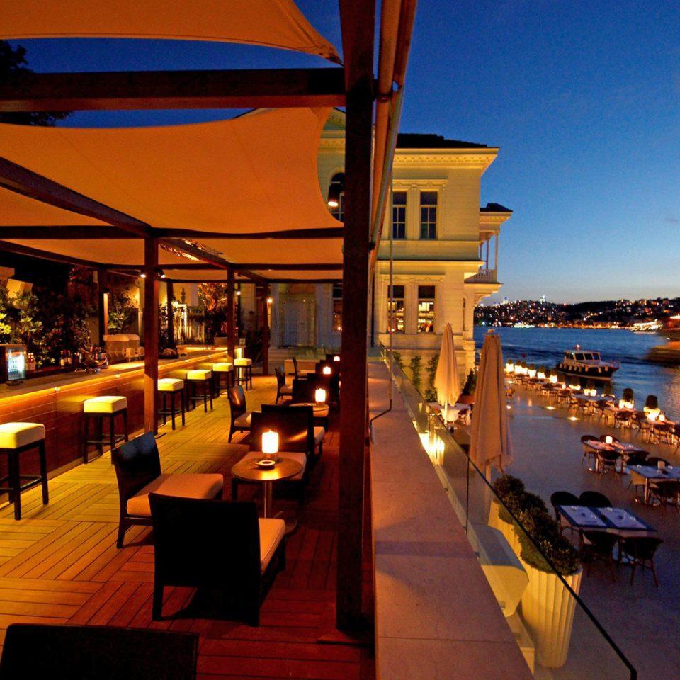 Bar Deck Dining Waterfront night evening Resort restaurant dusk