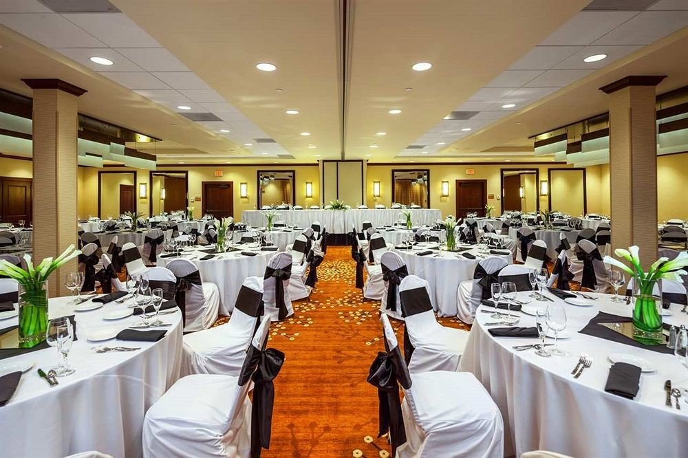 chair Dining function hall banquet restaurant convention center conference hall ballroom lunch dinner set Bar