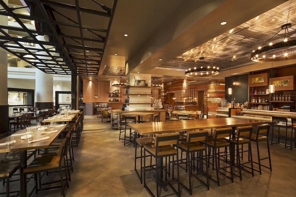 chair restaurant scene café cafeteria Dining function hall metal Bar