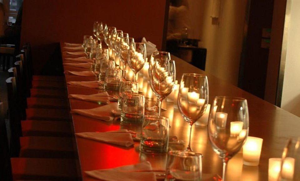 glasses wine restaurant lighting Dining lit centrepiece Bar set