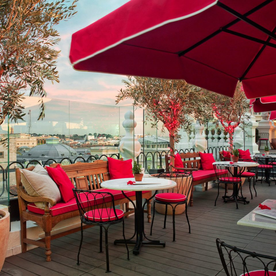 umbrella red chair restaurant Dining Bar set