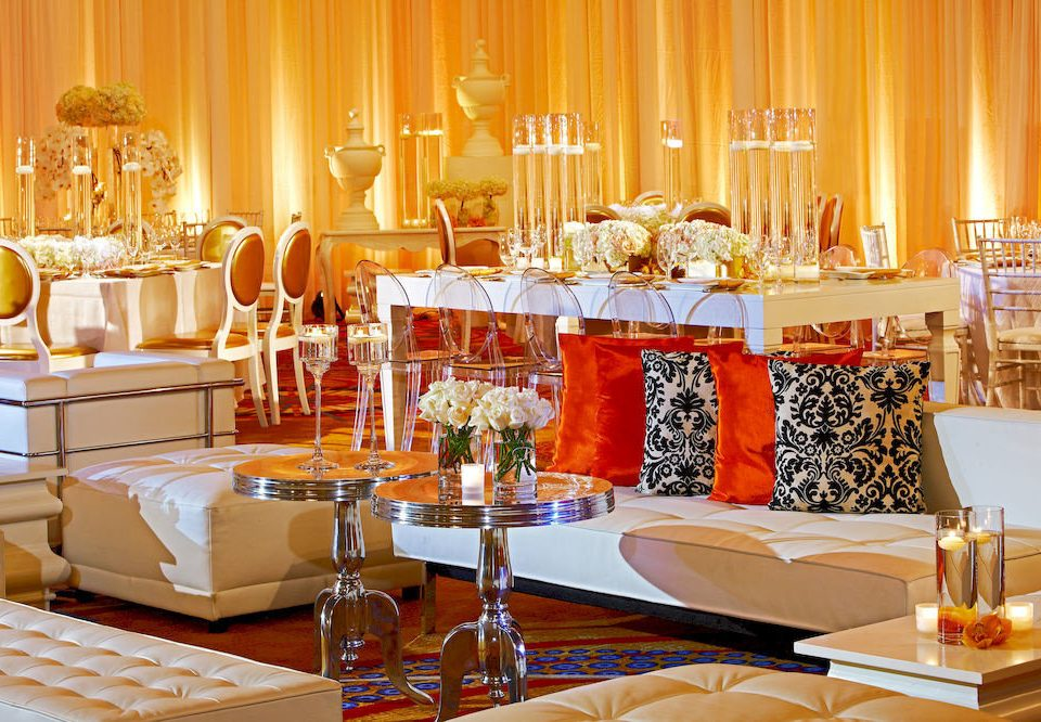 Bar Dining Drink Eat Elegant Hip Modern function hall banquet buffet restaurant Party brunch ballroom wedding reception orange