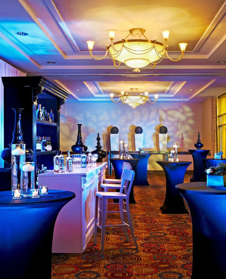 Bar Dining Drink Eat Elegant Hip Modern blue function hall restaurant nightclub ballroom